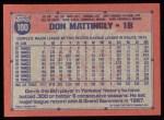 1991 Topps #100  Don Mattingly  Back Thumbnail