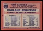 1991 Topps #171  Tony La Russa  Back Thumbnail