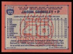 1991 Topps #173  Jason Grimsley  Back Thumbnail