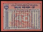 1991 Topps #208  Willie Wilson  Back Thumbnail