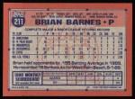 1991 Topps #211  Brian Barnes  Back Thumbnail