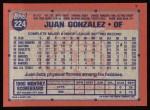 1991 Topps #224  Juan Gonzalez  Back Thumbnail