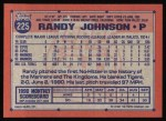 1991 Topps #225  Randy Johnson  Back Thumbnail