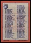 1991 Topps #263   Checklist 2 Back Thumbnail