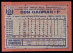 1991 Topps #282  Don Carman  Back Thumbnail