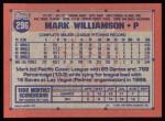 1991 Topps #296  Mark Williamson  Back Thumbnail