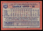 1991 Topps #312  Charlie Hayes  Back Thumbnail