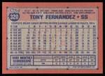 1991 Topps #320  Tony Fernandez  Back Thumbnail