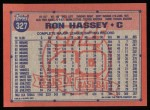 1991 Topps #327  Ron Hassey  Back Thumbnail