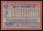 1991 Topps #335  Mitch Williams  Back Thumbnail