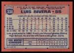 1991 Topps #338  Luis Rivera  Back Thumbnail