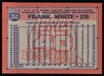 1991 Topps #352  Frank White  Back Thumbnail