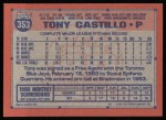 1991 Topps #353  Tony Castillo  Back Thumbnail