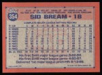 1991 Topps #354  Sid Bream  Back Thumbnail