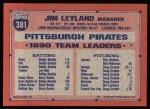 1991 Topps #381  Jim Leyland  Back Thumbnail