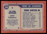 1991 Topps #390   -  Jose Canseco All-Star Back Thumbnail