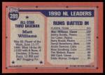 1991 Topps #399   -  Matt Williams All-Star Back Thumbnail