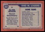 1991 Topps #402   -  Darryl Strawbery All-Star Back Thumbnail
