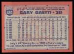 1991 Topps #430  Gary Gaetti  Back Thumbnail