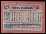 1991 Topps #432  Delino DeShields  Back Thumbnail