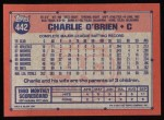 1991 Topps #442  Charlie O'Brien  Back Thumbnail