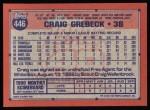 1991 Topps #446  Craig Grebeck  Back Thumbnail