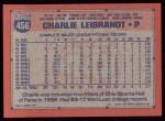 1991 Topps #456  Charlie Leibrandt  Back Thumbnail