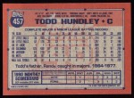 1991 Topps #457  Todd Hundley  Back Thumbnail