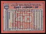 1991 Topps #469  Chet Lemon  Back Thumbnail
