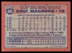 1991 Topps #480  Dave Magadan  Back Thumbnail