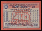 1991 Topps #496  Marty Barrett  Back Thumbnail