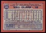1991 Topps #500  Will Clark  Back Thumbnail
