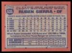1991 Topps #535  Ruben Sierra  Back Thumbnail