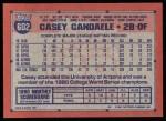 1991 Topps #602  Casey Candaele  Back Thumbnail
