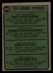 1974 Topps #596   -  Wayne Garland / Fred Holdsworth / Mark Littell / Dick Pole Rookie Pitchers   Back Thumbnail