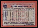 1991 Topps #703  Juan Agosto  Back Thumbnail