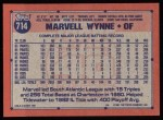 1991 Topps #714  Marvell Wynne  Back Thumbnail