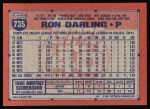 1991 Topps #735  Ron Darling  Back Thumbnail