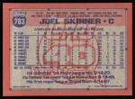 1991 Topps #783  Joel Skinner  Back Thumbnail