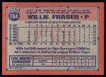 1991 Topps #784  Willie Fraser  Back Thumbnail