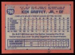 1991 Topps #790  Ken Griffey Jr.  Back Thumbnail