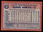1991 Topps #42  Chris Hoiles  Back Thumbnail