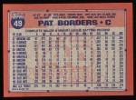 1991 Topps #49  Pat Borders  Back Thumbnail