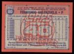 1991 Topps #80  Fernando Valenzuela  Back Thumbnail