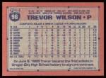 1991 Topps #96  Trevor Wilson  Back Thumbnail