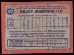 1991 Topps #97  Brady Anderson  Back Thumbnail