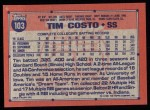 1991 Topps #103  Tim Costo  Back Thumbnail