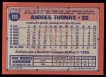1991 Topps #111  Andres Thomas  Back Thumbnail