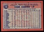 1991 Topps #118  Tom Edens  Back Thumbnail