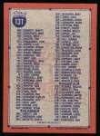 1991 Topps #131   Checklist 1 Back Thumbnail